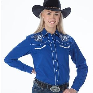 Tops - Womens Retro Western Shirt, Star Design medium